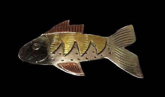 Fish brooch. Textured copper brass brooch