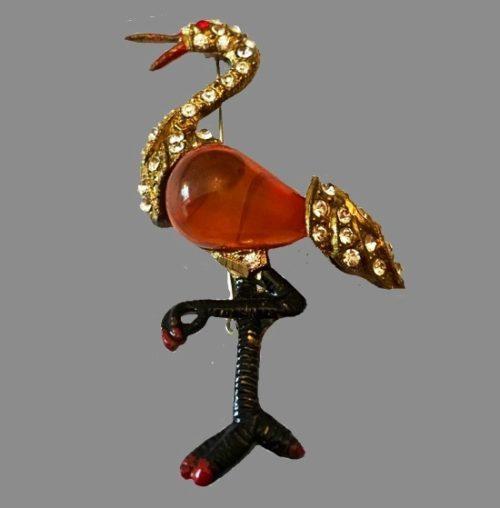 Flamingo brooch. Sterling silver, enamel