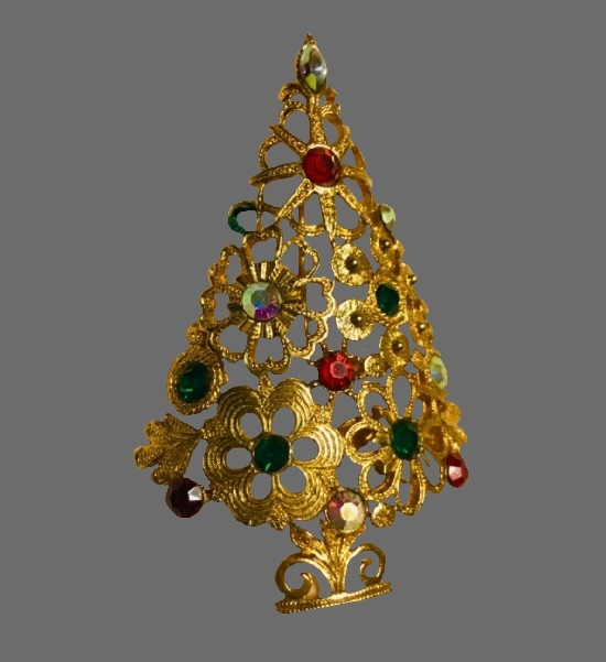 Floral design Christmas Tree pin of gold tone, rhinestones