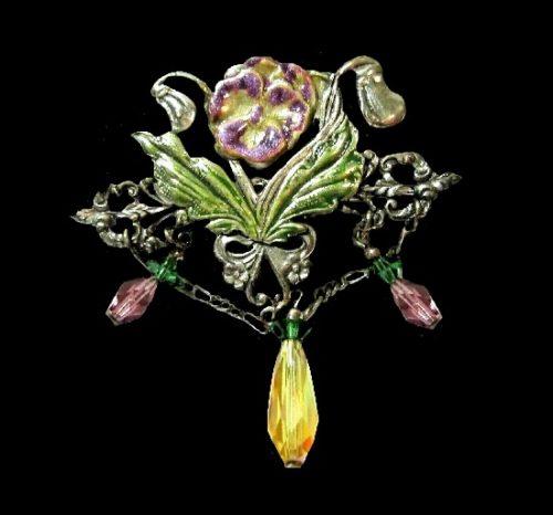 Floral design brooch pin. Silver tone, enamel, glass dangles