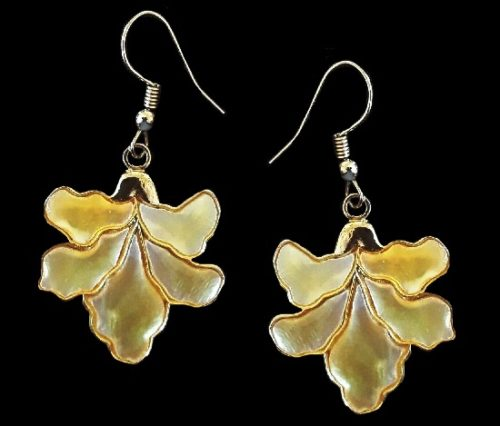 Floral design drop dangle pierced earrings. Goldtone metal, abalone