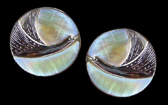 Flying Dove Pierced Earrings. Silver tone metal, mother of pearl