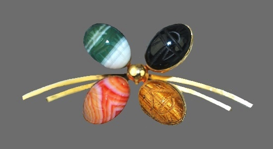 Four natural stone carved scarab pin. Tiger eye, onyx, green, orange and white banded agate
