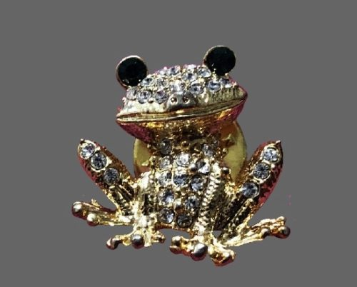 Frog brooch. Gold tone, rhinestones