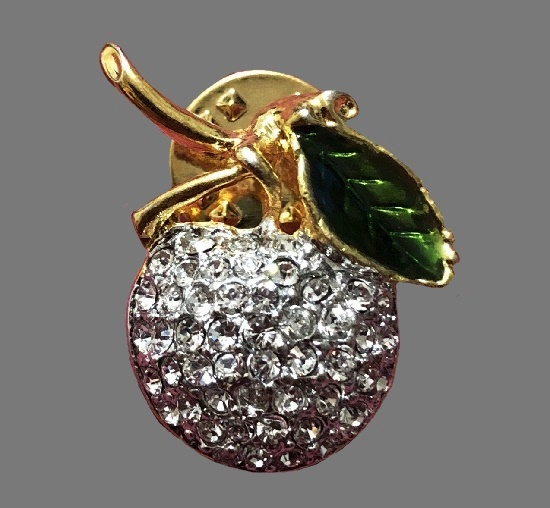 Fruit pin. Gold tone metal, enamel, rhinestone