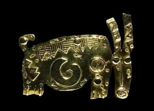 Gazelle brooch. Textured brass