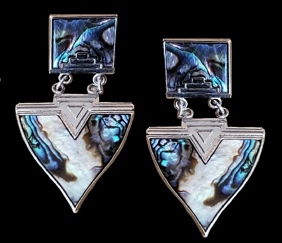 Geometrical design art Deco pierced earrings of silver tone, abalone
