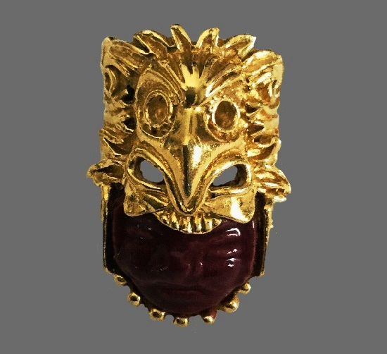 Gold Plated ceramic face ring
