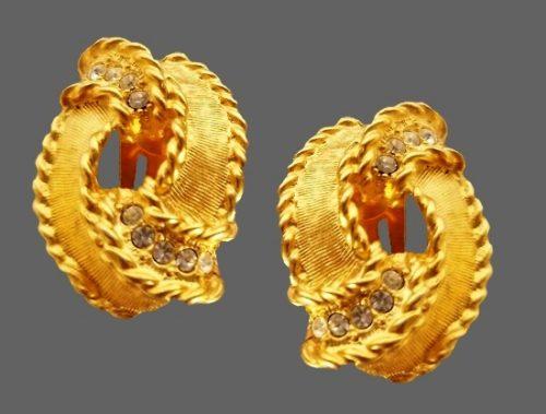 Gold plated rhinestone earrings