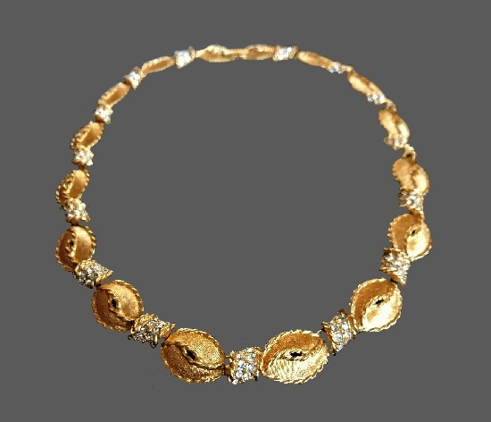 Gold tone clear crystals necklace