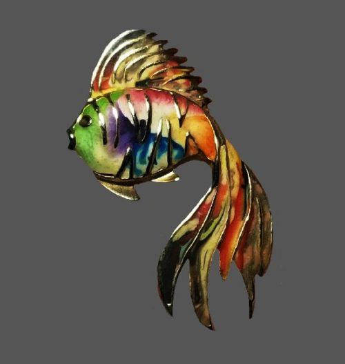 Goldfish brooch. Gold tone metal, multicolor enamel