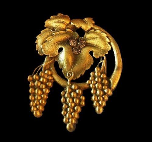 Grape Vineyard gold tone rhinestone brooch