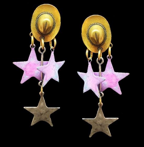 Hat dangle stars pierced earrings of Mixed metal alloys. 1993