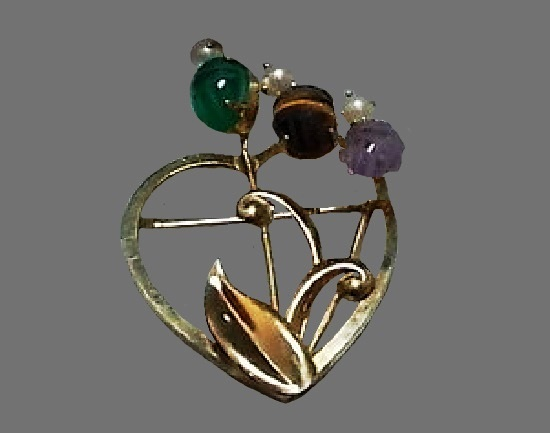 Heart and flower openwork pin. 12 K gold filled, green onyx, violet amethyst, tiger's eye, pearls