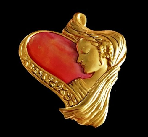 Heart shaped art nouveau style brooch. Gold tone textured metal, Pink abalone