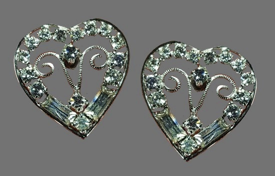 Heart shaped sterling silver rhinestone earrings
