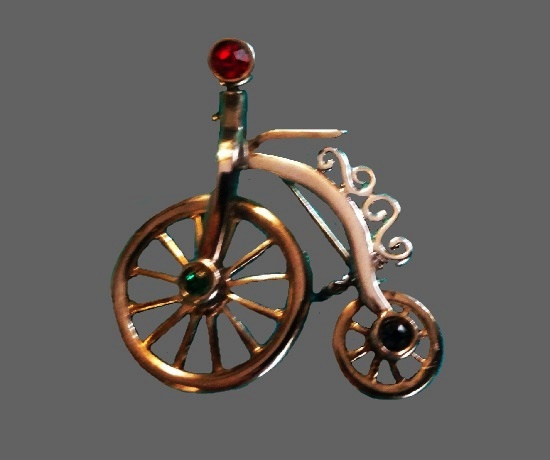 High Wheel Bicycle Pin of gold tone