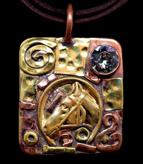 Horse head pendant. Aqua marine crystal, mixed metal