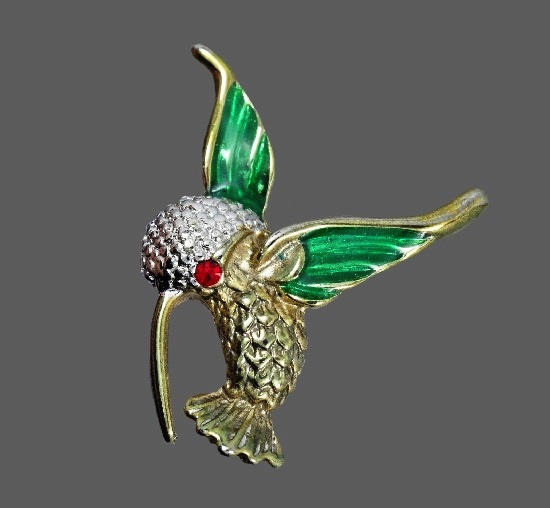 Hummingbird Pin. Gold tone metal, rhinestones