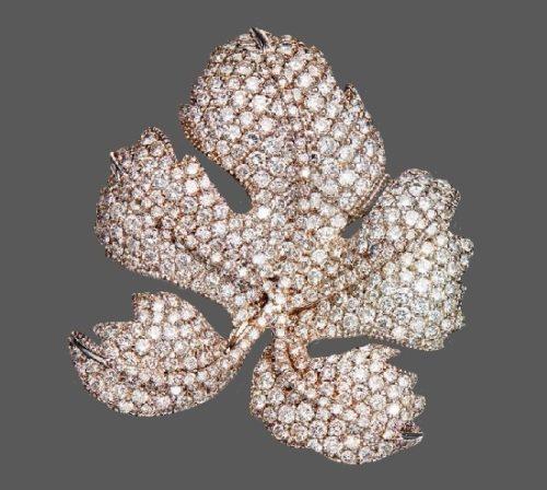 Leaf brooch. 18 Karat White Gold and Diamond. David Morris for F. Leighton