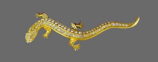Lizard gold tone rhinestone brooch