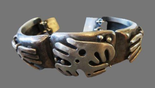 Mexican Ethnic motif sterling silver bracelet