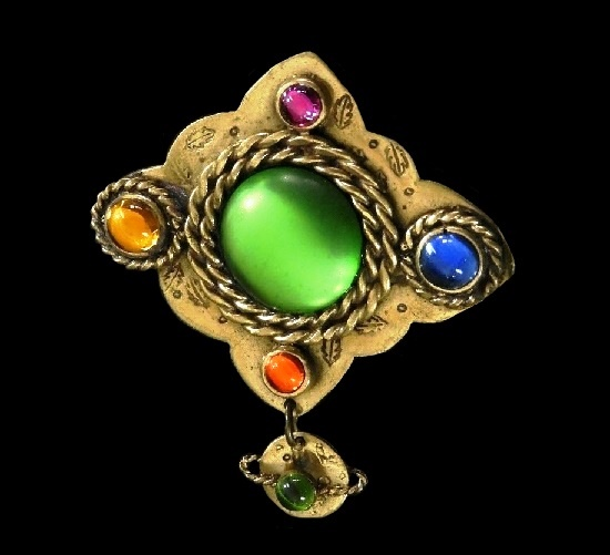 Mothers Day Gift brooch. Brass, glass cabochons