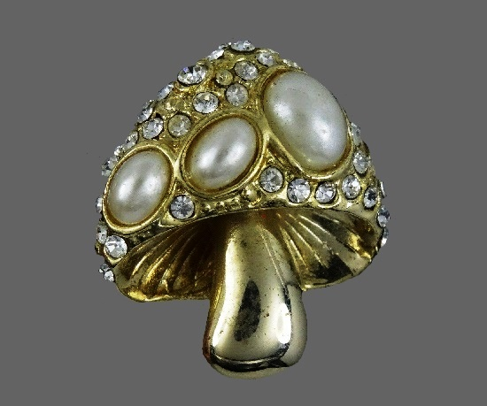 Mushroom brooch. Gold tone, rhinestones, faux pearl