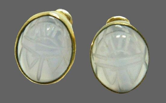 Opalescent Quartz Scarab 12 K gold filled Earrings