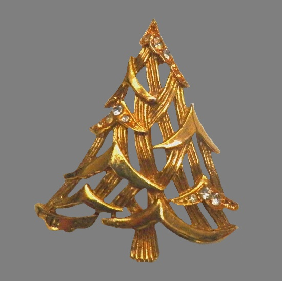 Original design X-mas tree brooch of gold tone, rhinestones
