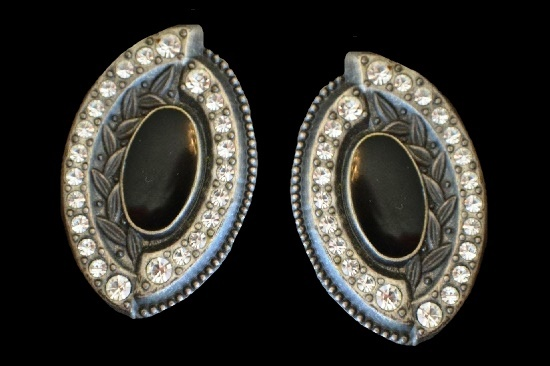 Oval shaped earrings. Textured pewter, black onyx, rhinestone