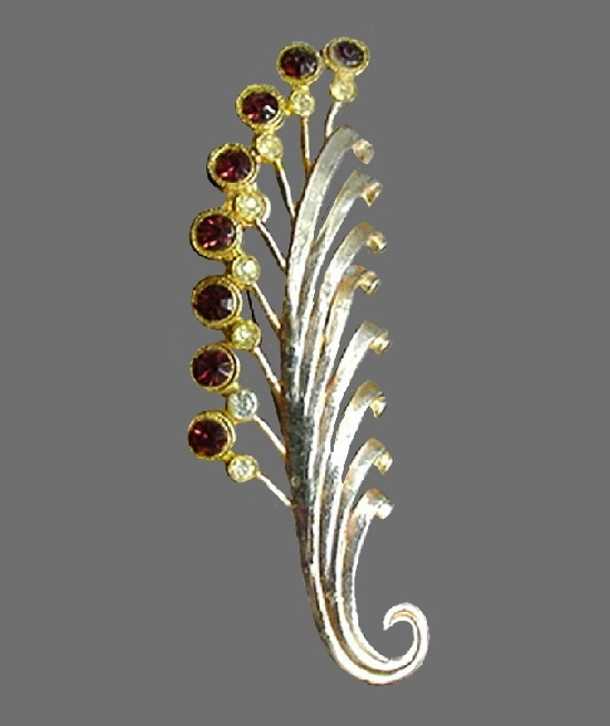 Palm frond brooch. Pot metal, rhinestones