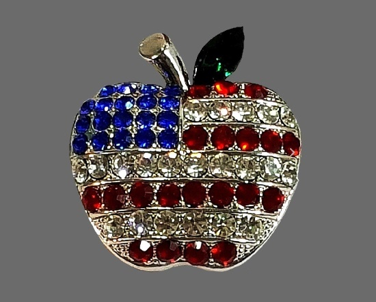 Patriotic apple vintage brooch. Gold tone metal, white, blue and clear rhinestone