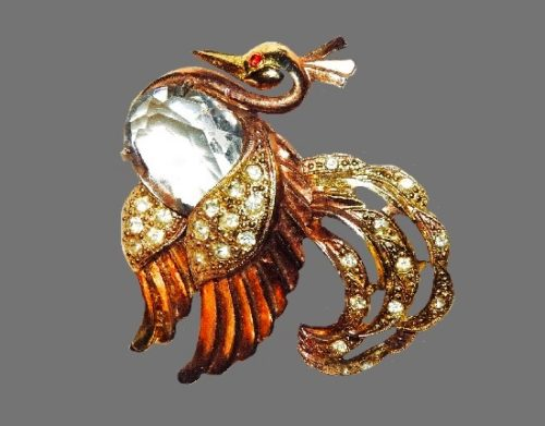 Peacock brooch. Gold plated, pale blue glass, rhinestones, 1930's