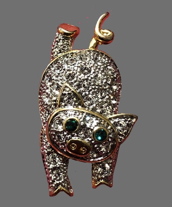 Piggy brooch pin. Gold tone, rhinestones