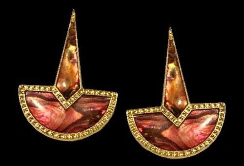 Pink abalone earrings, gold tone metal