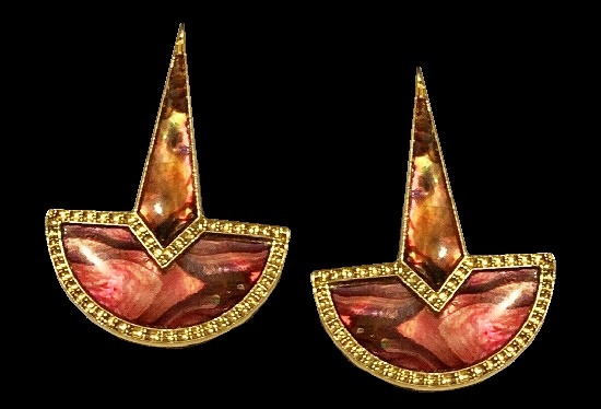 Pink abalone earrings, gold tone metal