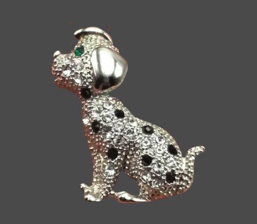 Puppy brooch. Silver tone metal, rhinestones