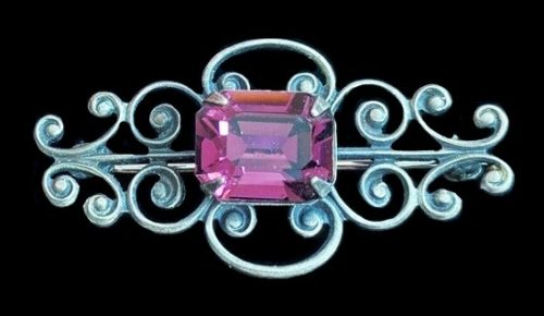 Purple amethyst silver tone metal brooch