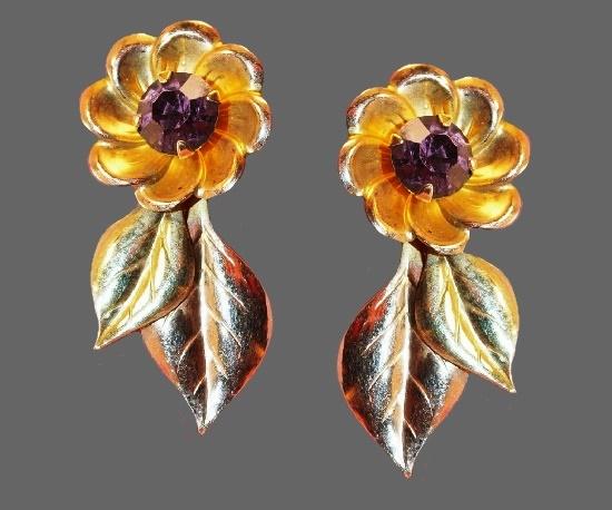 Purple rhinestone floral design gold filled screw back earrings