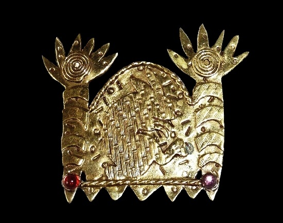 Rabbit between palm trees tribal brooch. Textured brass, red and purple lucite