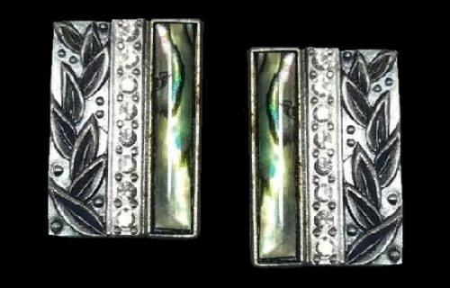 Rectangular shaped pierced earrings. Pewter, abalone shell