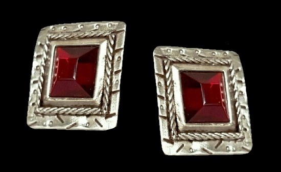 Red glass silver tone earrings. 1980s