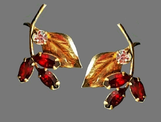 Red stone earrings. 12 K gold filled, red and clear rhinestones