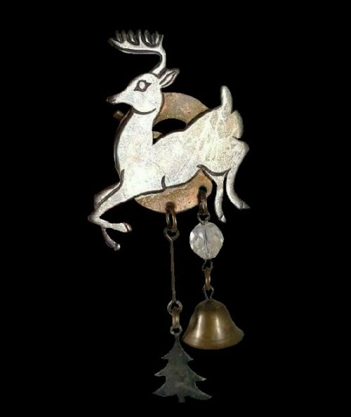 Reindeer Christmas Tree Bell Dangle Brooch. Copper, silver. 1994