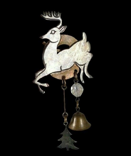 Reindeer Christmas Tree Bell Dangle Brooch. Copper, silver. 1994