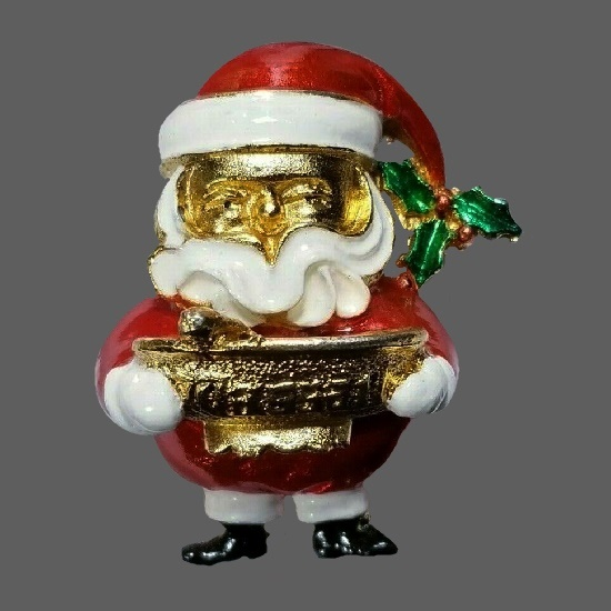 Santa holding the dish vintage brooch of gold tone, enamel