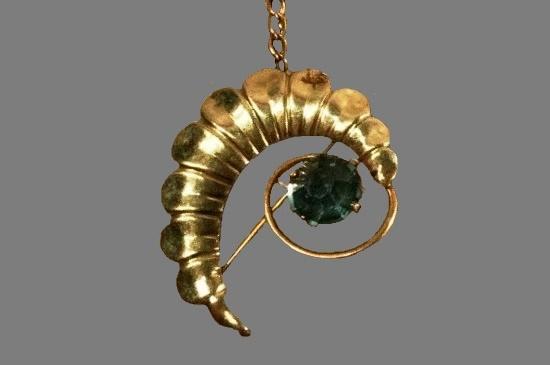 Scalloped swirl brooch pendant. 12 gold filled, blue glass stone