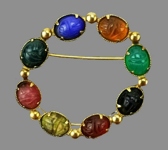 Scarab cabochon multicolor stones 12 K gold filled circle pin