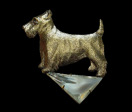 Scottie dog brass and glass pin